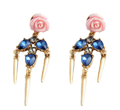 Vintage,Rose,with,Sapphire,Crystal,and,Dangling,Spikes,Drop,Earrings,(Organza,Gift,Pouch,Included).,Vintage Rose with Sapphire Crystal and Dangling Spikes Drop Earrings  (Organza Gift Pouch Included).