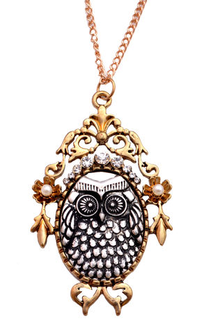 Vintage,Design,Owl,Cameo,Necklace,with,Intricate,Details,24'',Mixed,Antique,Gold,and,Silver,Metal,(In,Organza,Pouch).,Vintage Design Owl Cameo Necklace with Intricate Details 24'' Mixed Antique Gold and Silver Metal (In Organza Pouch).