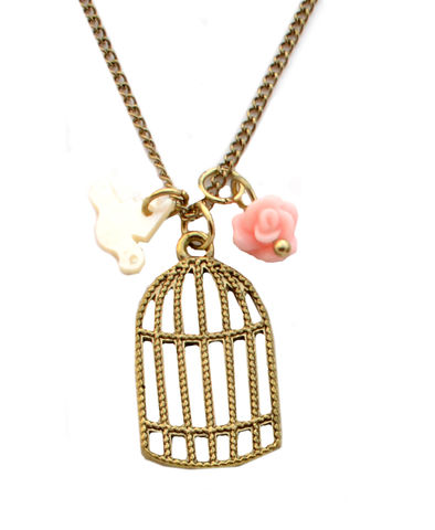 Antique,Gold,Bird,and,Cage,Short,Necklace,Vintage,Style,(In,Organza,Pouch).,Antique Gold Bird and Bird Cage Short Necklace Vintage Style (In Organza Pouch).