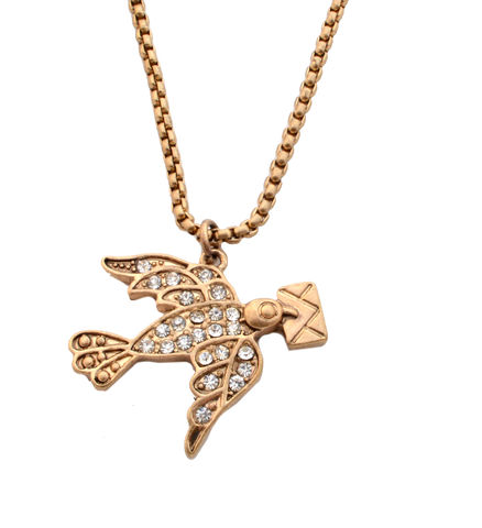 Vintage,Design,Flying,Dove,with,Letter,Crystal,Necklace,in,Antique,Gold,Tone,(In,Organza,Pouch).,Vintage Design Flying Dove with Letter Crystal Necklace in Antique Gold Tone (In Organza Pouch).