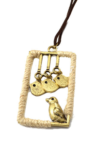 Handmade,Mama,Bird,with,Dangling,Little,Birds,Long,Necklace,Suede,Chain,(in,Organza,Bag),Handmade Mama Bird with Dangling Little Birds Long Necklace with Suede Chain (in Organza Bag)