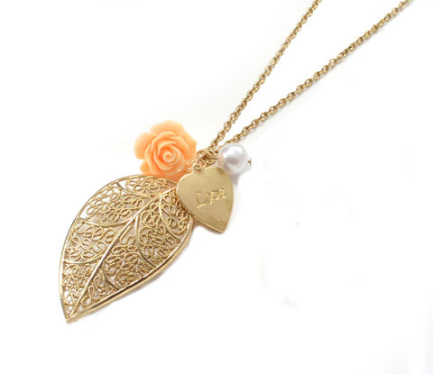 Gold,Tone,Leave,and,Rose,Charm,Long,Necklace,(in,Organza,Bag),Gold Tone Leave and Rose Charm Long Necklace  (in Organza Bag)