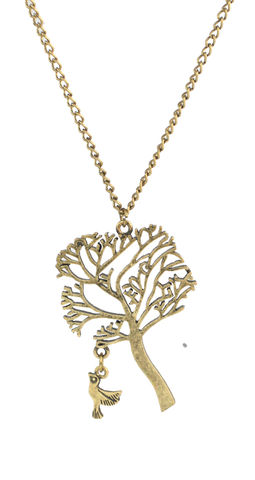 Brass,Tone,Tree,of,Life,with,Dangling,Little,Bird,Long,Necklace,(in,Organza,Bag),Brass Tone Tree of Life with Dangling Little Bird Long Necklace (in Organza Bag)