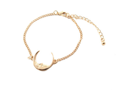 Man,in,the,Moon,Crescent,Dainty,Thin,Bracelet,Gold,Tone,-,Adjustable,(in,Organza,Bag),Man in the Moon Crescent Dainty Thin Bracelet in Gold Tone - Adjustable (in Organza Bag)