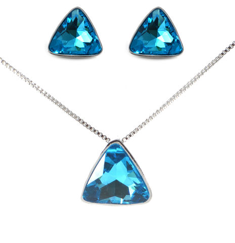 Triangle,Austrian,Crystal,Rhodium,Plated,Necklace,and,Earrings,Set,-,Aqua,Blue,(in,Organza,Bag),Triangle Austrian Crystal Rhodium Plated Necklace and Earrings Set - Aqua Blue (in Organza Bag)