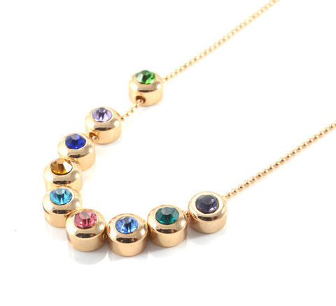 Gold,Plated,Rainbow,Gem,Crystal,Pebble,Short,Necklace,-,Genuine,Austrian,Crystals,(in,Organza,Bag),Circle,Geometric,Design,Gold Plated Rainbow Gem Crystal Pebble Short Necklace - Genuine Austrian Crystals (in Organza Bag) Circle Geometric Design