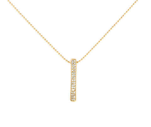 Gold,Plated,Crystal,Pave,Vertical,Bar,Short,Necklace,(in,Organza,Bag),Gold Plated Crystal Pave Vertical Bar Short Necklace  (in Organza Bag)
