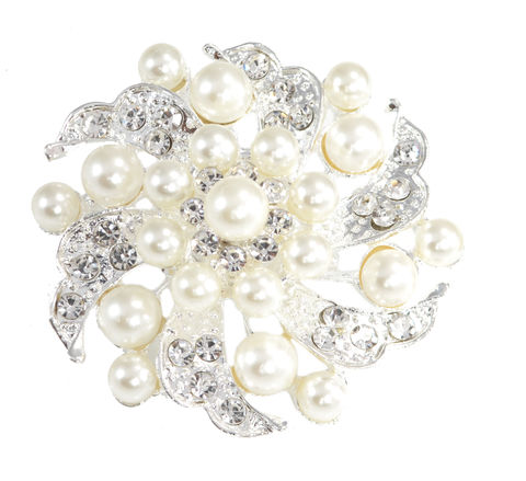 Rhodium,Plated,Pearl,and,Crystal,Large,Pin,Brooch,Blossom,Floral,Design,(in,Organza,Bag),Rhodium Plated Pearl and Crystal Large Pin Brooch Blossom Floral Design (in Organza Bag)
