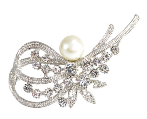 Rhodium,Plated,Pearl,and,Crystal,Pin,Brooch,Blossom,Wave,Floral,Design,(in,Organza,Bag),Rhodium Plated Pearl and Crystal Pin Brooch Blossom Wave Floral Design (in Organza Bag)