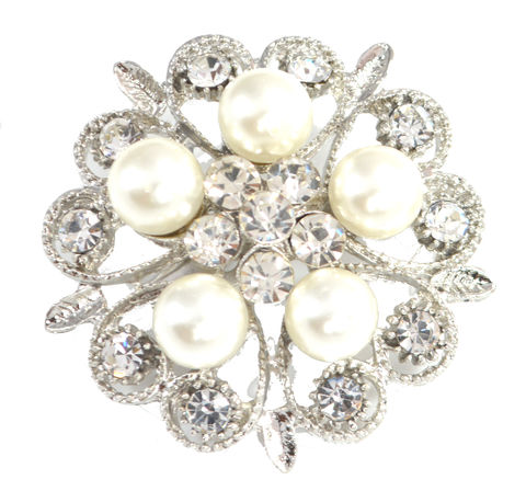 Rhodium,Plated,Pearl,and,Crystal,Pin,Brooch,Blossom,Floral,Design,(in,Organza,Bag),Rhodium Plated Pearl and Crystal Pin Brooch Blossom Floral Design (in Organza Bag)