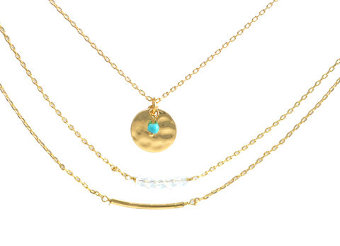 Gold,Tone,Mix,and,Match,Three,Layer,Necklace,with,Circle,Disk,,Turquoise,Beads,Curved,Bar,(in,Organza,Bag),Minimalist,Design,Gold Tone Mix and Match Three Layer Necklace with Circle Disk, Turquoise Beads and Curved Bar (in Organza Bag) Minimalist Design
