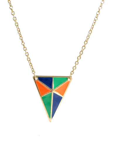 Gold,Tone,Enamel,Triangle,Long,Necklace,22'',(in,Organza,Bag),Geometric,Design,Gold Tone Enamel Triangle Long Necklace 22'' (in Organza Bag) Geometric Design