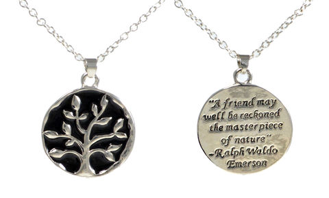 The,Tree,of,Life,Friendship,Short,Necklace,with,Engraved,Emerson,Quote,(in,Organza,Bag),Cute,and,Quirky,Design,The Tree of Life Friendship Short Necklace with Engraved Emerson Quote (in Organza Bag) Cute and Quirky Design