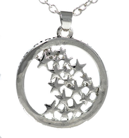 Rhodium,Plated,'Live,your,Own,Life,and,Follow,Your,Stars',Engraved,Pendant,Necklace,(in,Organza,Bag),Rhodium Plated 'Live your Own Life and Follow Your Own Stars' Engraved Pendant Necklace (in Organza Bag)