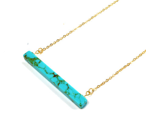 Minimalist,Turquoise,Bar,Necklace,with,Gold,Tone,Chain,(in,Organza,Bag),Geometric,Design,Minimalist Turquoise Bar Necklace with Gold Tone Chain (in Organza Bag) Geometric Design