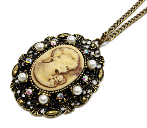 Antique,Brass,Tone,Vintage,Design,Lady,Cameo,Necklace,with,Pearl,and,Crystal,(in,Organza,Bag),Antique Brass Tone Vintage Design Lady Cameo Necklace with Pearl and Crystal (in Organza Bag)