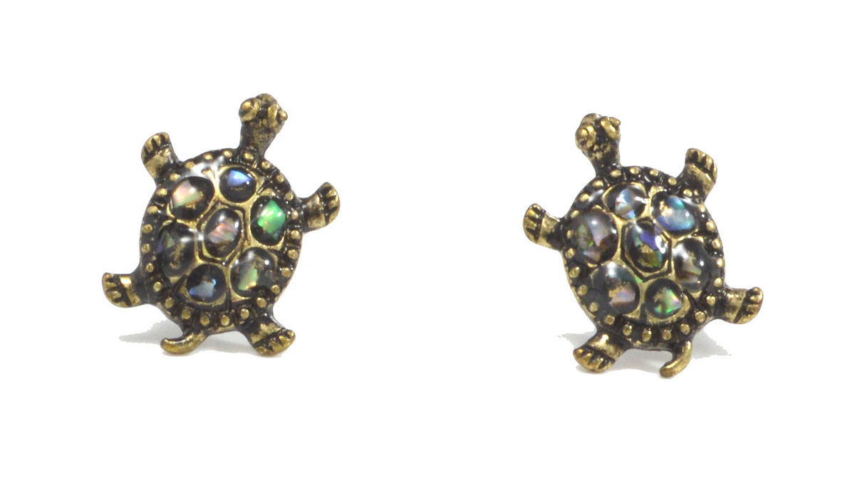 v childs child earrings in p gold green s stud turtle enamel