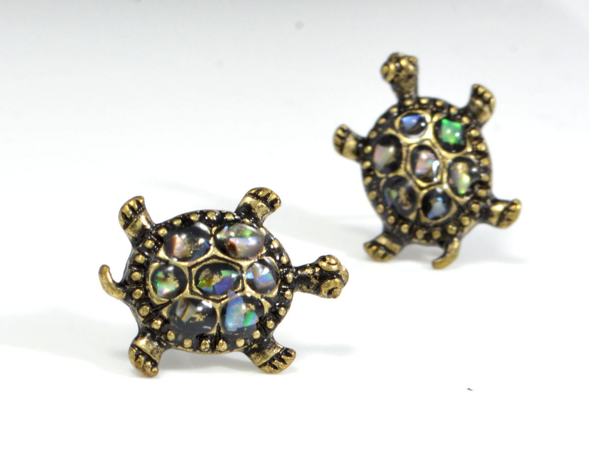 jewelry products turtle stud gold opal fashion fire double female sea blue filled small earring black trendmarvels earrings junxin