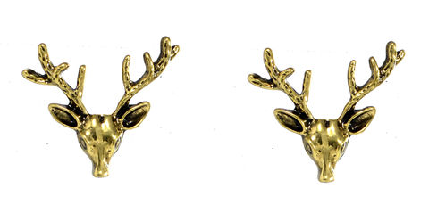 Pair,of,Small,Stag,Head,Antler,Brooches,Badges,-,Antique,Bronze,(in,Organza,Bag),Pair of Small Stag Head Antler Brooches Badges (in Organza Bag)