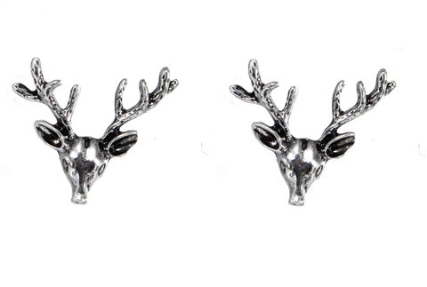 Pair,of,Small,Stag,Head,Antler,Brooches,Badges,-,Antique,Silver,(in,Organza,Bag),Pair of Small Stag Head Antler Brooches Badges - Antique Silver (in Organza Bag)