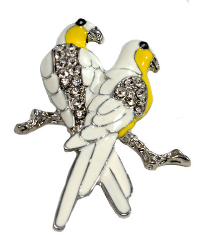 Pair,of,White,Parrot,Brooch,Pin,Intricate,Enamel,Plate,(in,Organza,Bag),Pair of White Parrot Brooch Pin Intricate Enamel Plate (in Organza Bag)