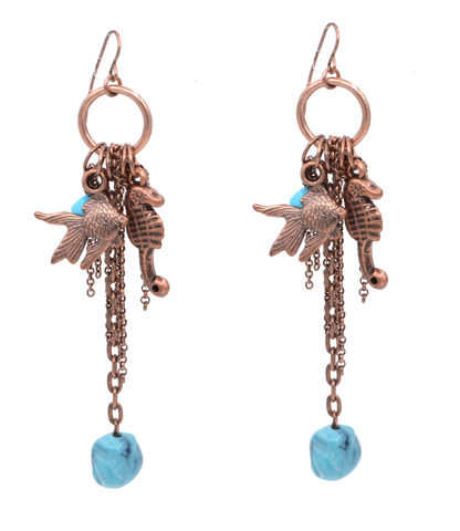 Antique,Copper,Tone,Seahorse,and,Fish,Earrings,with,Dangling,Charms,(in,Organza,Bag).,Antique Copper Tone Seahorse and Fish Earrings with Dangling Charms (in Organza Bag).