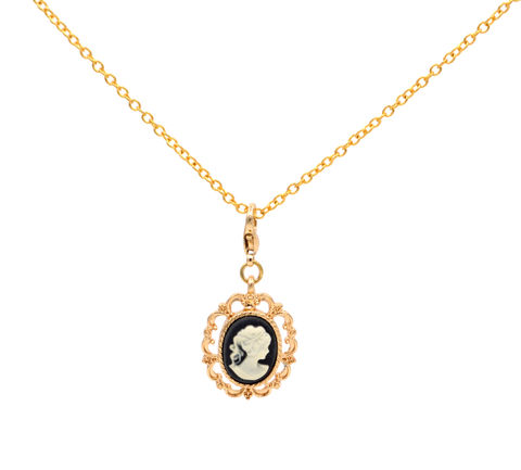 Gold,Plated,Lady,Cameo,Dainty,Necklace,Vintage,Design,18'',(in,Organza,Bag).,Gold Plated Lady Cameo Dainty Necklace Vintage Design 18'' (in Organza Bag).