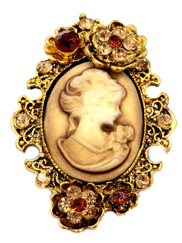 Vintage,Style,Lady,Cameo,Antique,Gold,Tone,Carved,Resin,Brooch,Pin,with,Blossom,Flower,Design,(in,Organza,Bag),Vintage Style Lady Cameo Antique Gold Tone Carved Resin Brooch Pin with Blossom Flower Design (in Organza Bag)