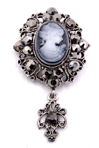 Vintage,Style,Lady,Cameo,Antique,Silver,Tone,Carved,Resin,Brooch,Pin,with,A,Dangling,Charm,(in,Organza,Bag),Vintage Style Lady Cameo Antique Silver Tone Carved Resin Brooch Pin with A Dangling Charm (in Organza Bag)