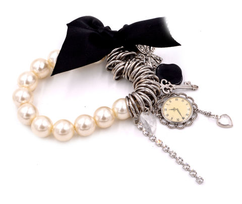 Vintage,Design,Clock,Cameo,,Key,and,Ribbon,Bow,Elastic,Bracelet,with,Pearls,(In,Organza,Bag),Vintage Design Clock Cameo, Key and Ribbon Bow Elastic Bracelet with Pearls (In Organza Bag)