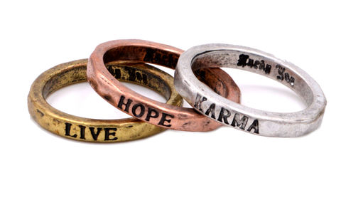 Antique,Style,Set,of,Three,Mixed,Metal,Script,Stacking,Rings,-,Live,Hope,Karma,(In,Organza,Bag),Antique Style Set of Three Mixed Metal Script Stacking Rings - Live Hope Karma (In Organza Bag)