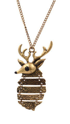 Antique,Bronze,Stag,Deer,with,Antler,Long,Necklace,(In,Organza,Bag),Antique Bronze Stag Deer with Antler Long Necklace (In Organza Bag)