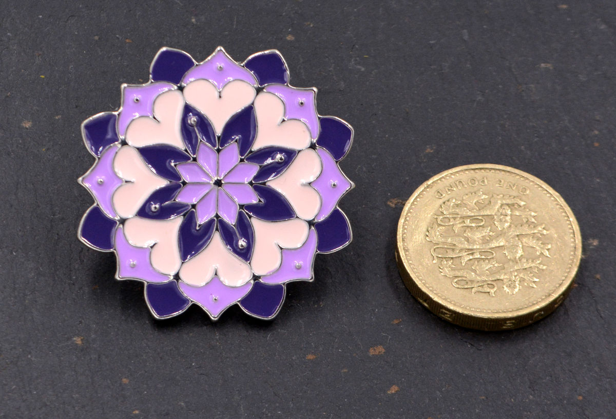 Lotus Flower Hand Painted Enamel Pin Lilac Purple In Organza Bag
