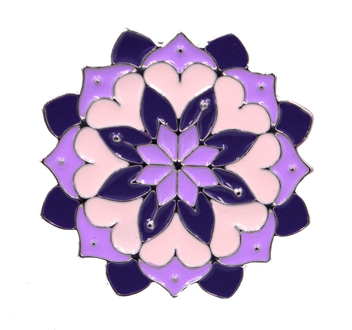 Lotus Flower Hand Painted Enamel Pin Lilac Purple In Organza Bag