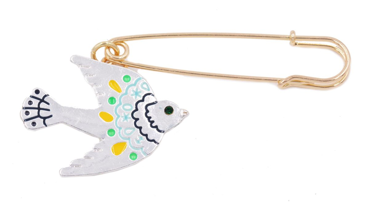 Silver Tone Little Swallow Bird Kilt Pin Safety Pin Style Brooch With Enamel    Cute And Fun   In Organza Bag
