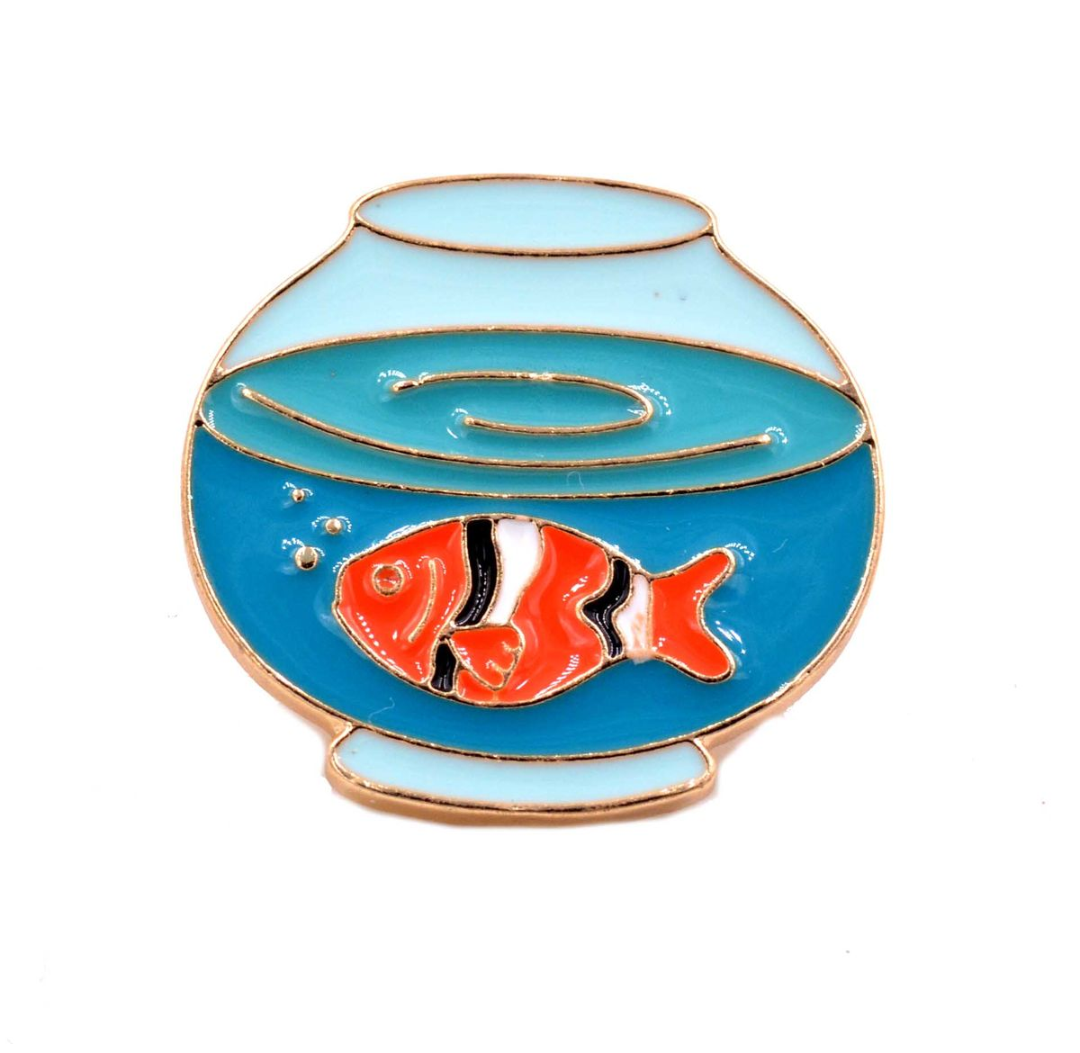 Gold Plated Cute Little Fish Bowl Lapel Pin Brooch - Hand Painted Enamel -  Cute and Quirky - in Organza Bag