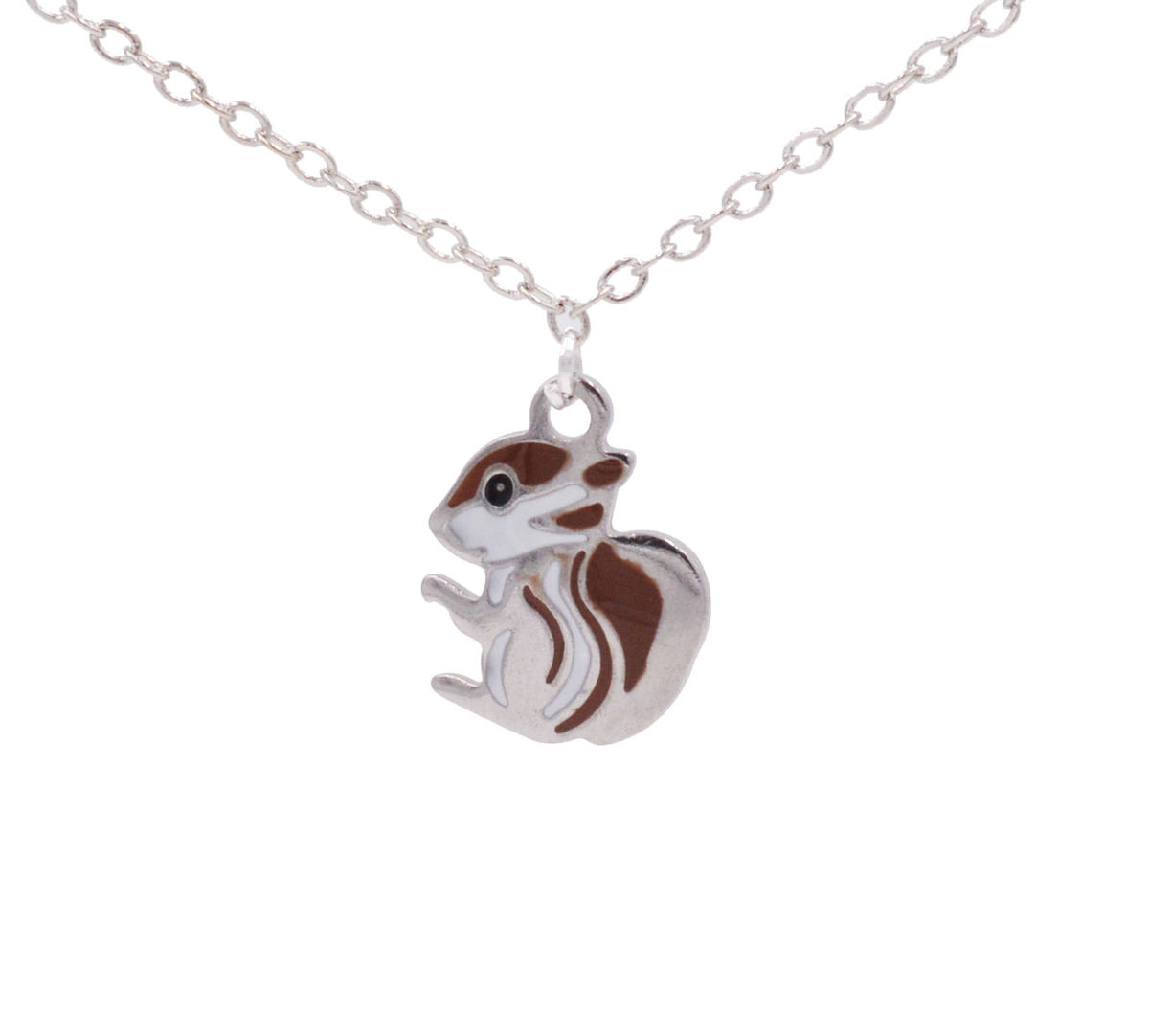 Silver plated tiny little squirrel pendant necklace 18 cute and silver plated tiny little squirrel pendant necklace 18 cute and quirky in organza bag aloadofball Gallery