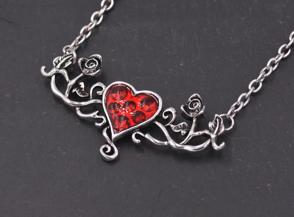Alchemy Style Gothic Love Hearts Romantic Costume Pendant Necklace With Rose Floral Vine Details