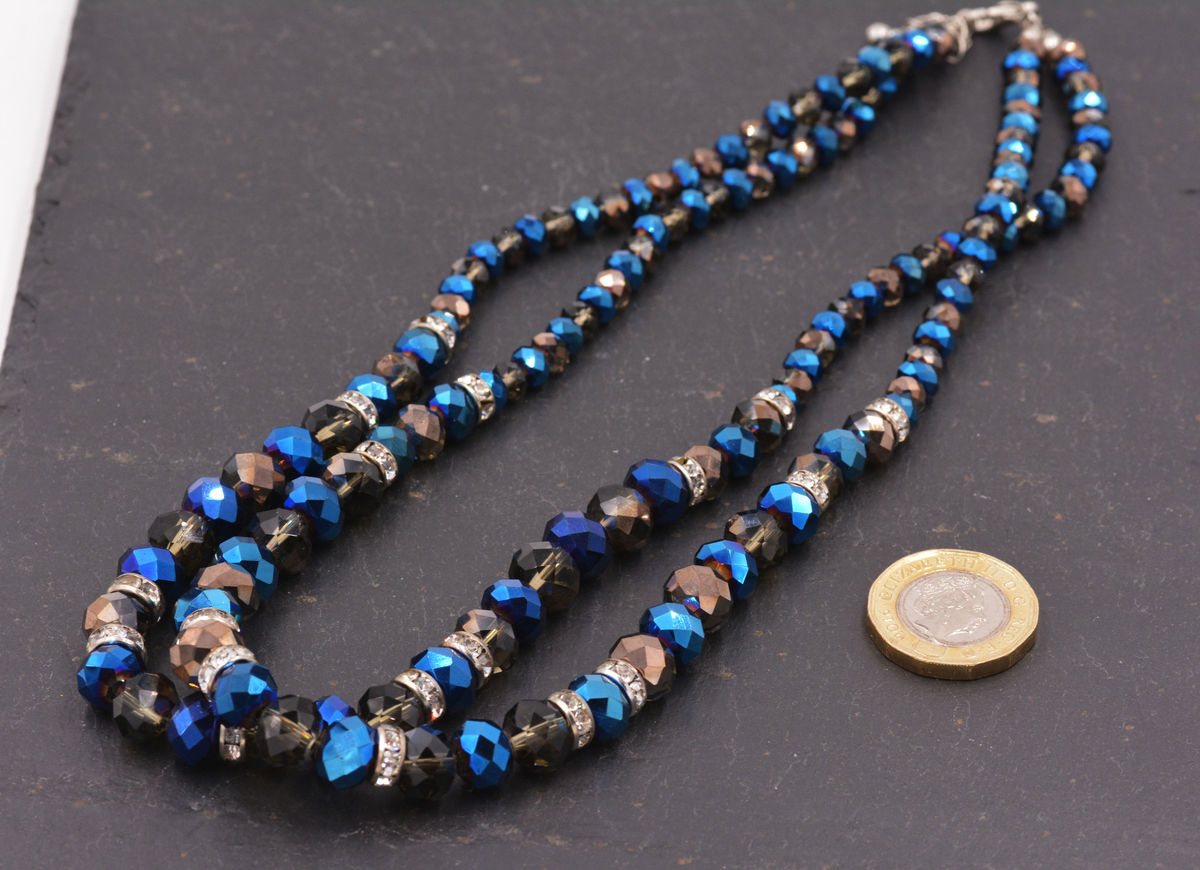4fc4a487fc ... Beautiful Peacock Blue and Black Bead Double Layer Necklace - Pretty  and Elegant Jewellery - In ...