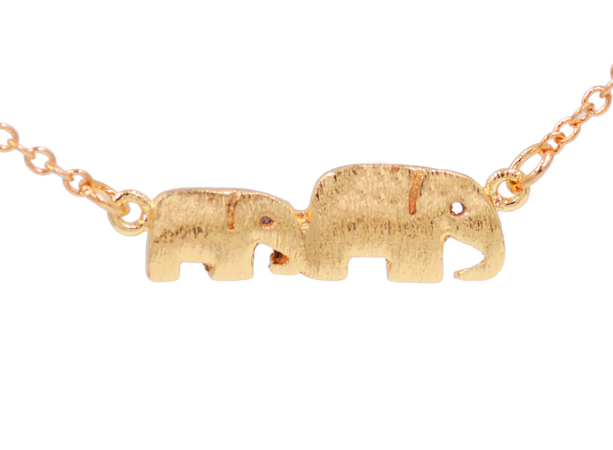 Cute pair of elephant pendant necklace gold plated 18 fun and cute pair of elephant pendant necklace gold plated 18 fun and quirky design in organza bag aloadofball Images
