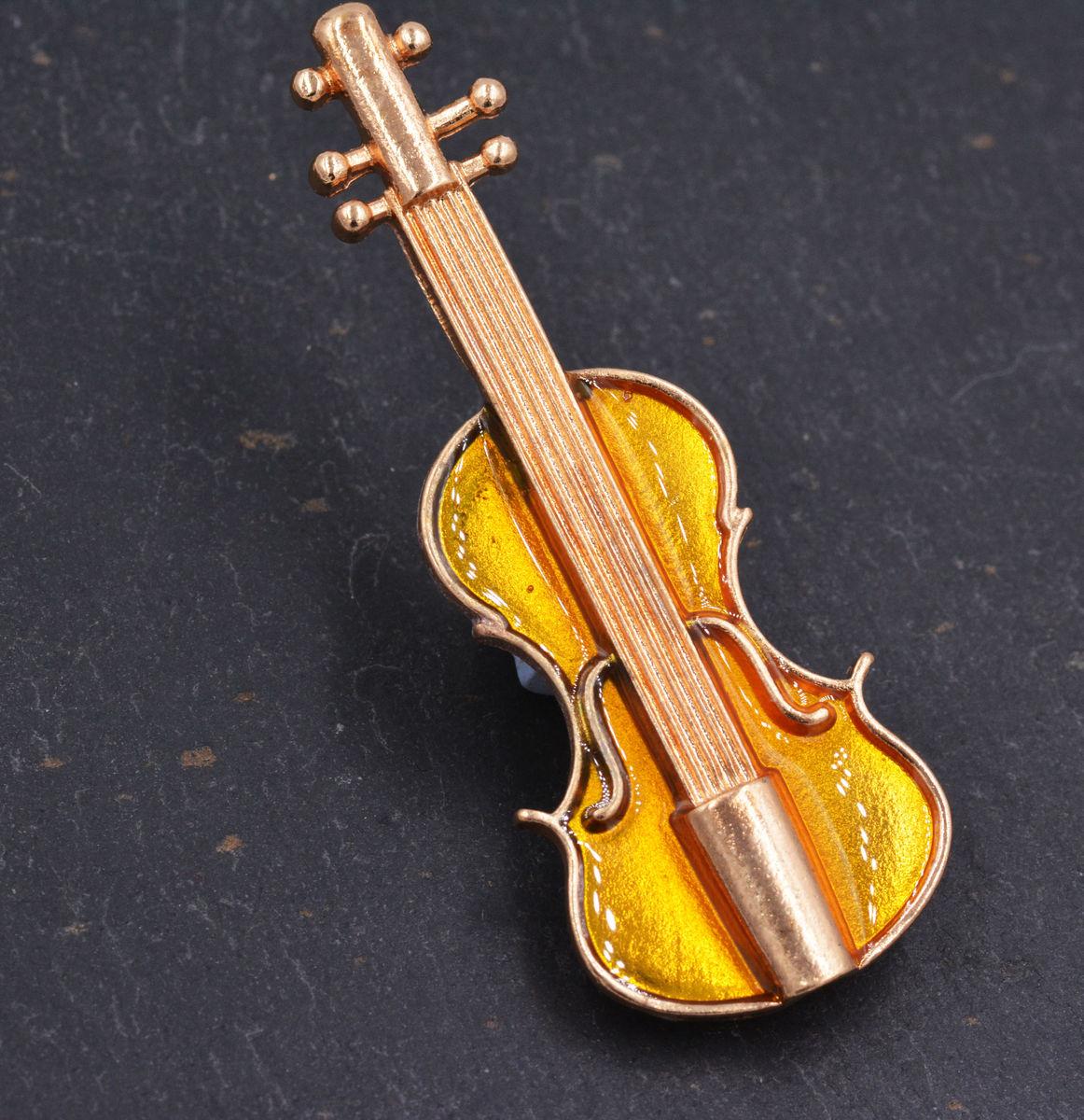 Gold Plated Violin Brooch Enamel Lapel Pin - Cute, Fun and