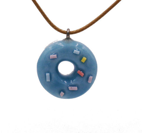 Handmade,Ceramic,Little,Donuts,Pendant,Necklace,in,Pastel,Blue,with,Adjustable,Length,-,Cute,,Fun,and,Quirky,Design,Handmade Ceramic Little Donuts Pendant Necklace in Pastel Blue with Adjustable Length - Cute, Fun and Quirky Design