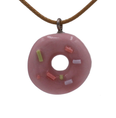 Handmade,Ceramic,Little,Donuts,Pendant,Necklace,in,Pastel,Pink,with,Adjustable,Length,-,Cute,,Fun,and,Quirky,Design.,Handmade Ceramic Little Donuts Pendant Necklace in Pastel Pink with Adjustable Length - Cute, Fun and Quirky Design.