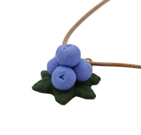 Handmade,Ceramic,Blueberry,Fruit,Pendant,Necklace,24'',in,Pastel,Blue,-,Cute,,Fun,and,Quirky,Design.,Handmade Ceramic Blueberry Fruit Pendant Necklace in Pastel Blue with Adjustable Length - Cute, Fun and Quirky Design.