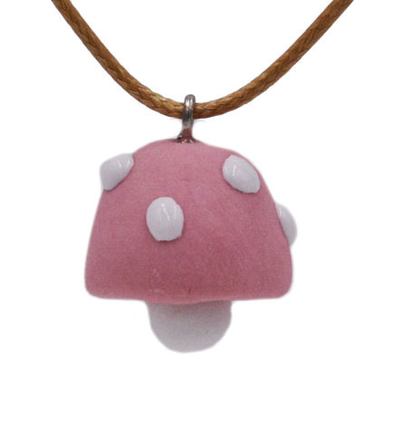 Handmade,Ceramic,Little,Mushroom,Pendant,Necklace,in,Pastel,Pink,24'',-,Cute,,Fun,and,Quirky,Design.,Handmade Ceramic Little Mushroom Pendant Necklace in Pastel Pink 24'' - Cute, Fun and Quirky Design.