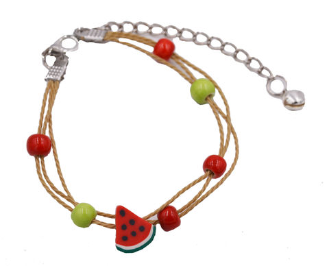Handmade,Polymer,Clay,Painted,Watermelon,Fruit,Charm,Bracelet,-,Cute,,Fun,and,Quirky,Design,Adjustable,Size.,Handmade Polymer Clay Painted Watermelon Fruit Charm Bracelet  - Cute, Fun and Quirky Design - Adjustable Size.