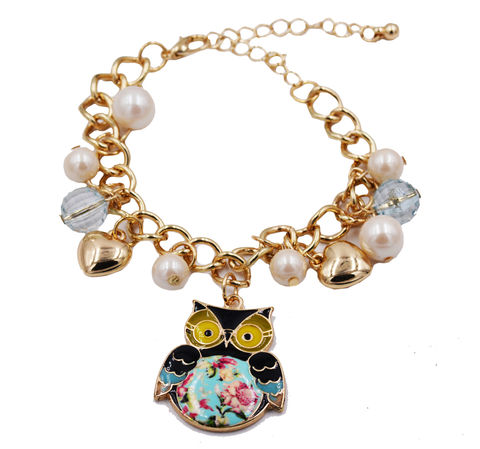 Gold,Tone,Owl,with,Floral,Belly,Charm,Bracelet,Pearls,-,Cute,,Fun,and,Quirky,Design,Adjustable,Size.,Gold Tone Owl with Floral Belly Charm Bracelet with Pearls - Cute, Fun and Quirky Design - Adjustable Size.