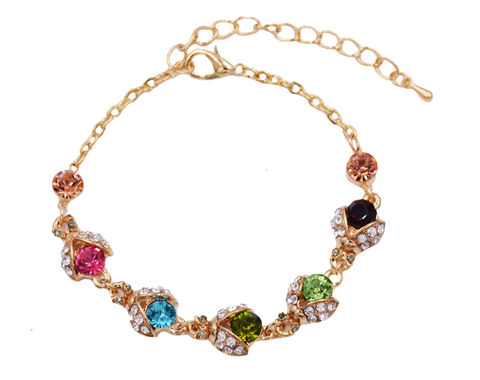 Gold,Tone,Multi-Colour,Crystal,Encrusted,Ladybird,Motif,Bracelet,-,Cute,,Fun,and,Quirky,Design,Adjustable,Size.,Gold Tone Multi-Colour Crystal Encrusted Ladybird Motif Bracelet - Cute, Fun and Quirky Design - Adjustable Size.