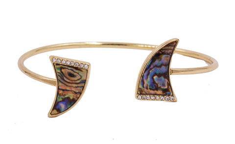 18ct,Gold,Plated,Double,Horn,Task,Bangle,Open,Cuff,Bracelet,with,Sea,Abalone,Shell,and,Crystals,-,Funky,Modern,Design.,18ct Gold Plated Double Horn Task Bangle Open Cuff Bracelet with Sea Abalone Shell and Crystals - Funky Modern Design.