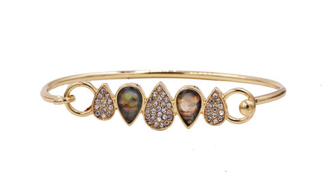 18ct,Gold,Plated,Droplet,Bar,Skinny,Bracelet,Bangle,with,Sea,Abalone,Paua,Shell,and,Crystals,-and,Suitable,for,a,small,to,medium,sized,wrist,18ct Gold Plated Droplet Bar Skinny Bracelet Bangle with Sea Abalone Paua Shell and Crystals -and Suitable for a small to medium sized wrist